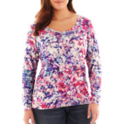 Liz Claiborne Long-Sleeve Scoopneck Print Tee - Plus