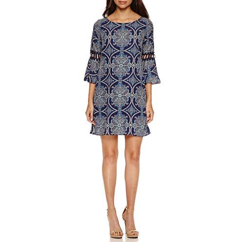 Luxology Bell Sleeve Print Shift Dress
