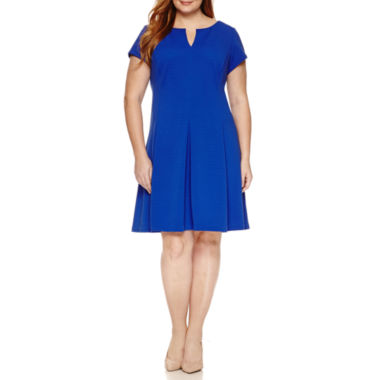 jcpenney.com | Studio 1 Short Sleeve Textured Knit Fit & Flare Dress-Plus