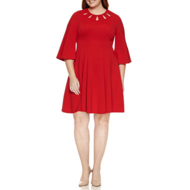 jcpenney.com | Danny & Nicole 3/4 Sleeve Fit & Flare Dress-Plus