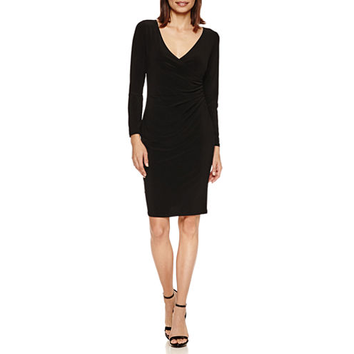 Tiana B Long Sleeve Faux-Wrap Sheath Dress-Petites