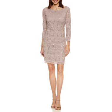 jcpenney.com | Tiana B 3/4 Sleeve Sequin Scallop Lace Shift Dress-Petites