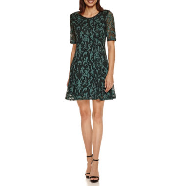 jcpenney.com | Tiana B Elbow Sleeve Paisley Lace Fit & Flare Dress-Petites