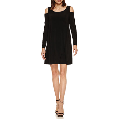 Tiana B Long Sleeve Cold-Shoulder A-Line Dress-Petites