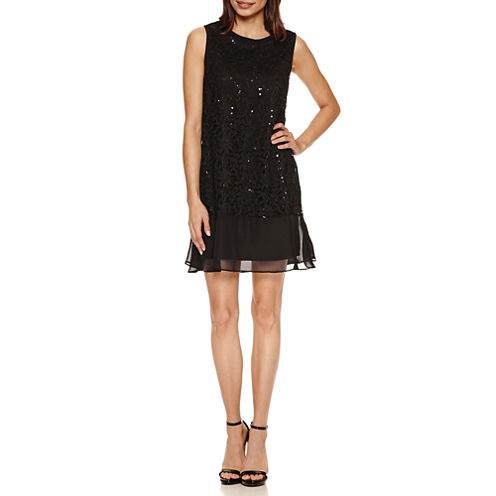 Tiana B Sleeveless Sequin Lace A-Line Dress-Petites