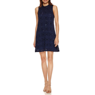 jcpenney.com | Tiana B Sleeveless Sequin Lace Mock-Neck A-Line Dress-Petites