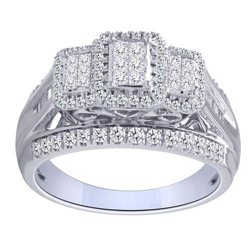 1 CT. T.W. Princess White Diamond 10K Gold Engagement Ring