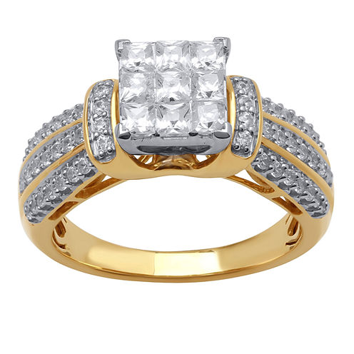 1 CT. T.W. Princess Diamond Engagement Ring in 10K Yellow Gold