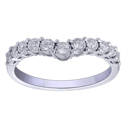Womens 1/4 CT. T.W. Round White Diamond 10K Gold Engagement Ring