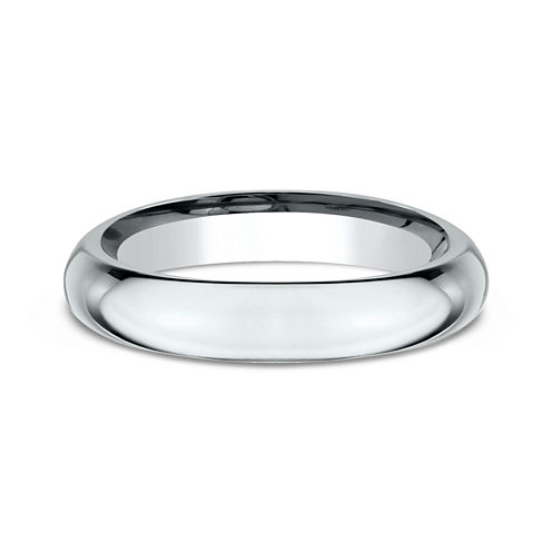 Womens 18K White Gold 4MM High Dome Comfort-Fit Wedding Band