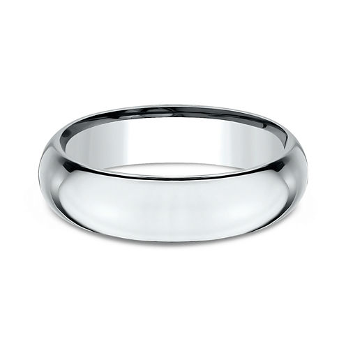 Mens 18K White Gold 6MM High Dome Comfort-Fit Wedding Band