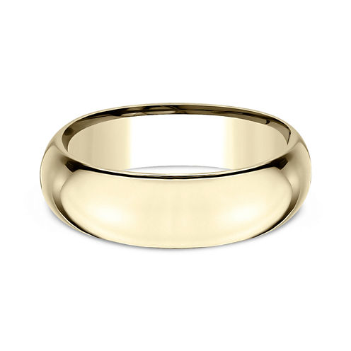 Mens 14K Yellow Gold 7MM High Dome Comfort-Fit Wedding Band