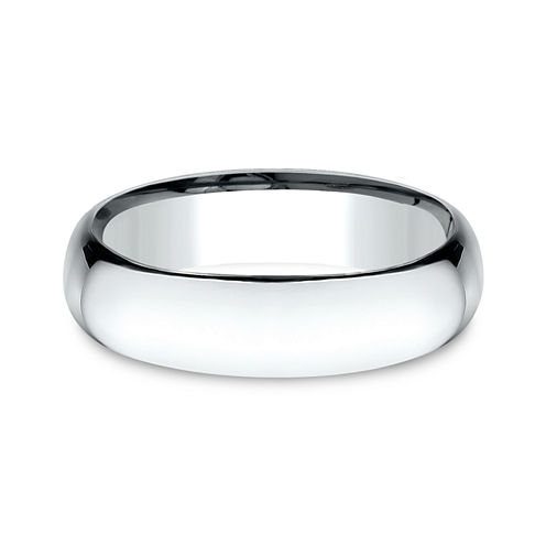 Mens 14K White Gold 6MM Light Comfort-Fit Wedding Band