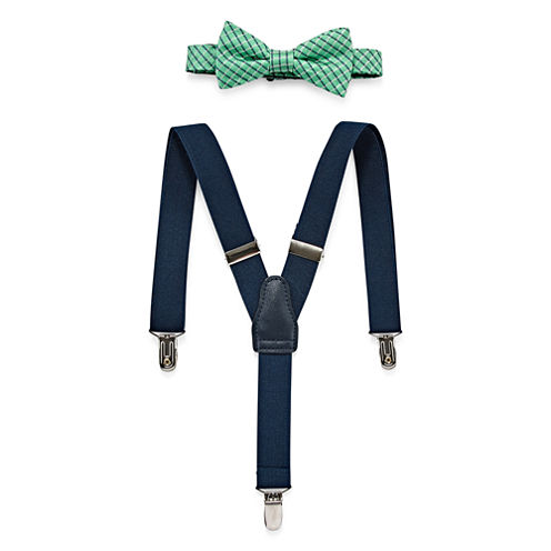 Wembley Grid Bow Tie and Suspender Set - Boys