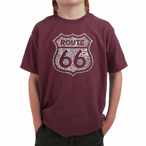 Los Angeles Pop Art Get Your Kicks On Route 66 Graphic T-Shirt-Big Kid Boys