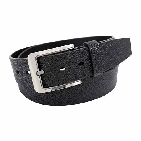 Stacy Adams Brush Nickel Buckle Single Leather Solid Belt