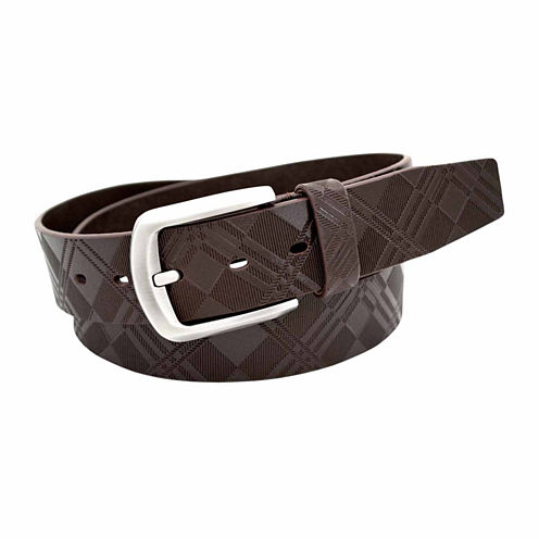 Stacy Adams Brush Nickel Buckle Single Leather Pattern Belt