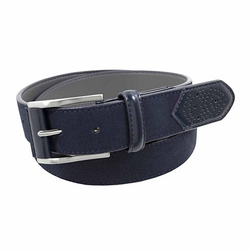 Stacy Adams Brushed Nickel With Leather Tab Solid Belt