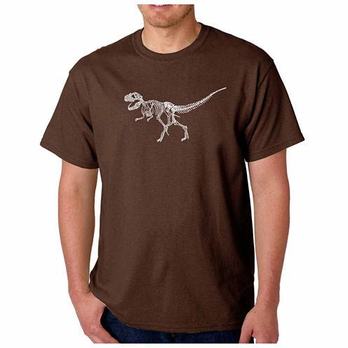 Los Angeles Pop Art Dinosaur Short Sleeve Crew Neck T-Shirt-Big And Tall