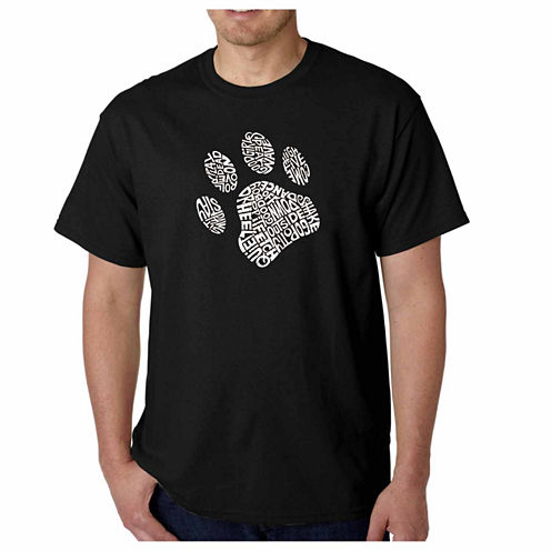 Los Angeles Pop Art Dog Paw Short Sleeve Crew Neck T-Shirt-Big And Tall