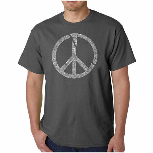 Los Angeles Pop Art World Conflict Short Sleeve Crew Neck T-Shirt-Big And Tall