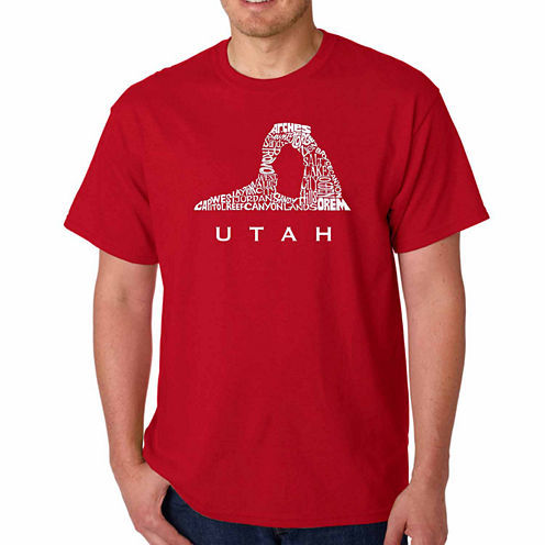 Los Angeles Pop Art Utah Short Sleeve Crew Neck T-Shirt-Big And Tall