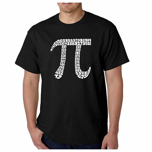 """Los Angeles Pop Art Short Sleeve """"First 100 Digits of PI"""" Crew Neck T-Shirt-Big and Tall"""
