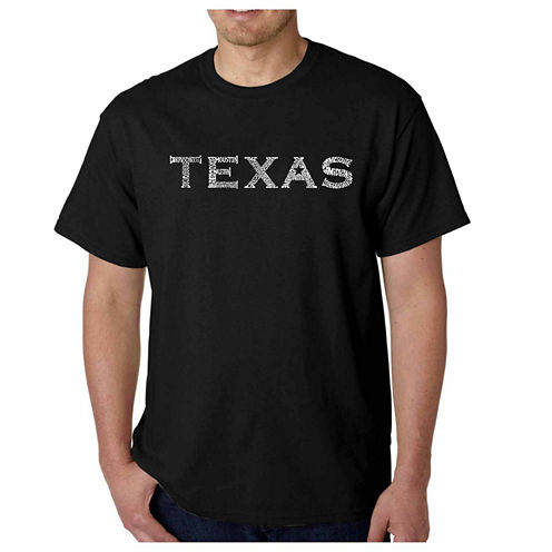 "Los Angeles Pop Art Short Sleeve ""Great Cities of Texas"" Crew Neck T-Shirt-Big and Tall"