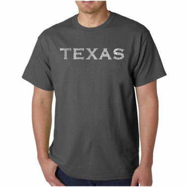 "jcpenney.com | Los Angeles Pop Art Short Sleeve ""Great Cities of Texas"" Crew Neck T-Shirt-Big and Tall"