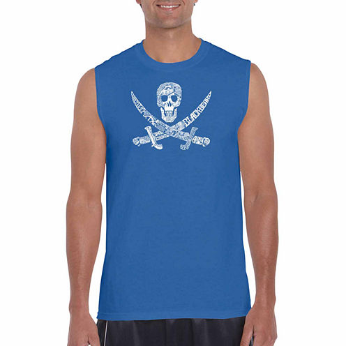 Los angeles pop art pirate captains sleeveless crew neck t for Tall sleeveless t shirts
