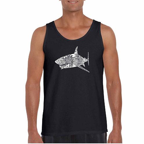 "Los Angeles Pop Art Short Sleeve ""Species Of Shark"" T-Shirt-Big And Tall"