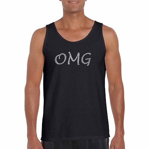 "Los Angeles Pop Art Short Sleeve ""Omg"" T-Shirt-Big And Tall"