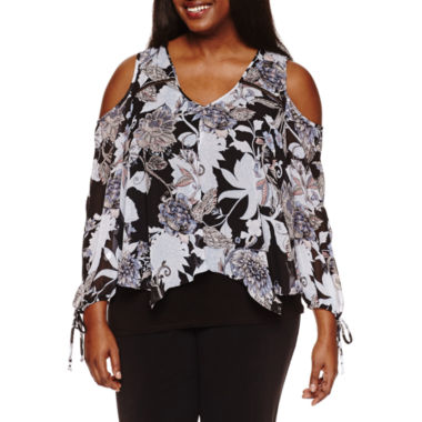 jcpenney.com | by&by Long Sleeve V Neck Chiffon Blouse-Juniors Plus