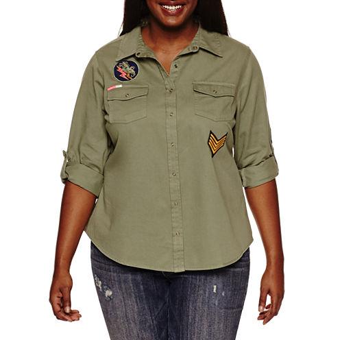 Arizona Button-Down Patch Shirt-Juniors Plus