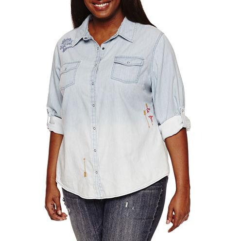 Arizona Embroidered Denim Shirt-Juniors Plus