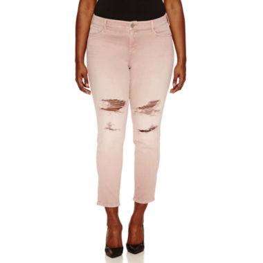 jcpenney.com | Arizona Plus Rose Quartz Destructed Skinny