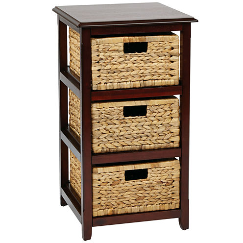 Seabrook 3-Tier Storage Unit With Natural Baskets