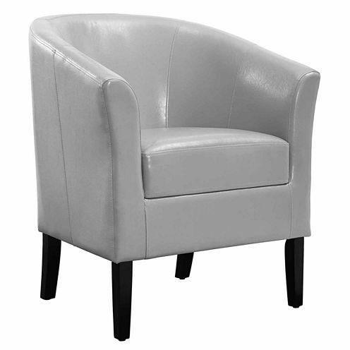 Simon Gray Faux Leather Barrel Chair