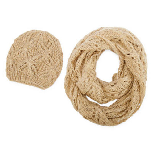 Pointelle Loop Scarf And Beanie Set