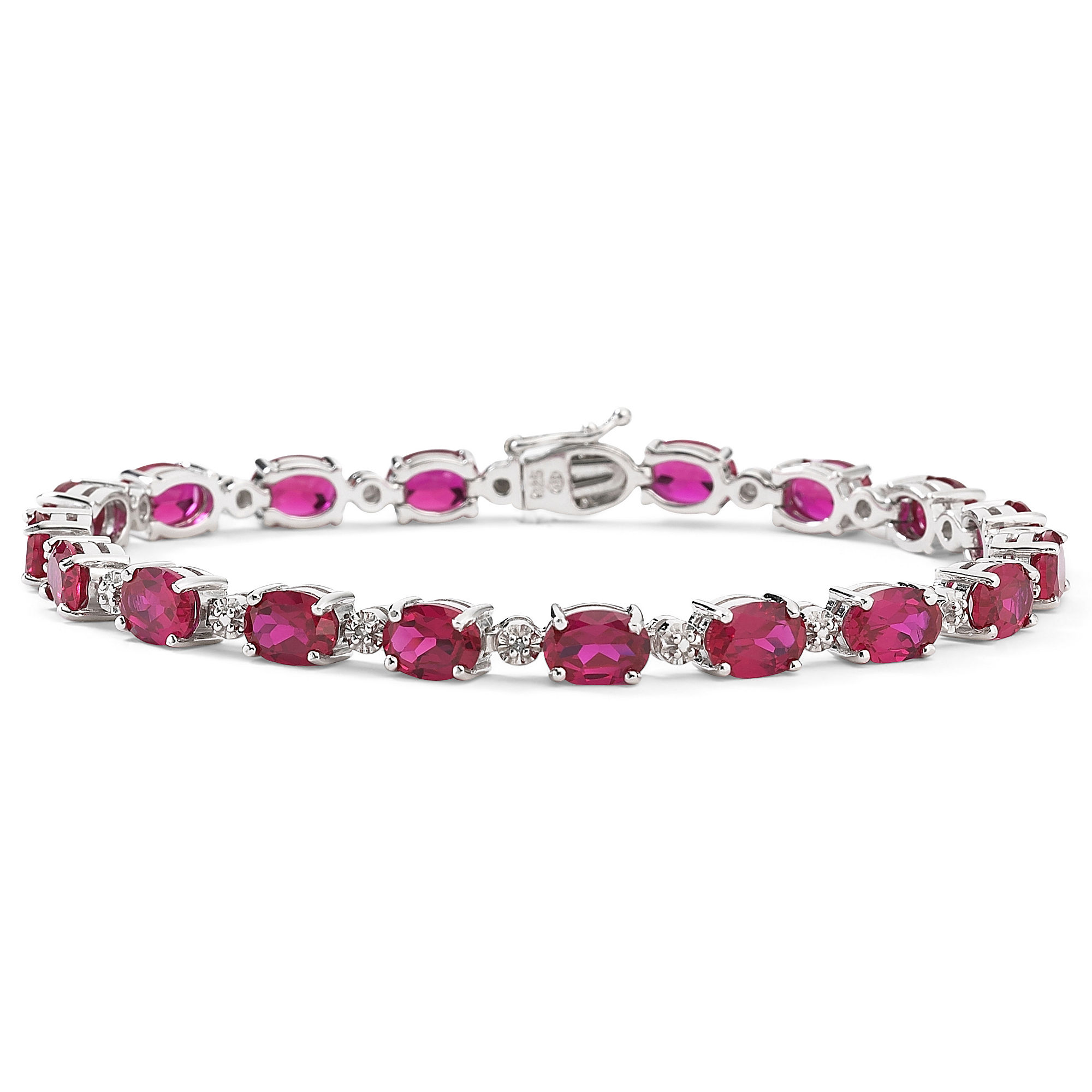 Lab-Created Ruby and Diamond-Accent Tennis Bracelet