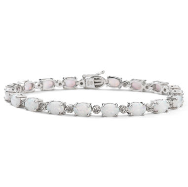 jcpenney.com | Sterling Silver Lab-Created Opal & Diamond-Accent Bracelet