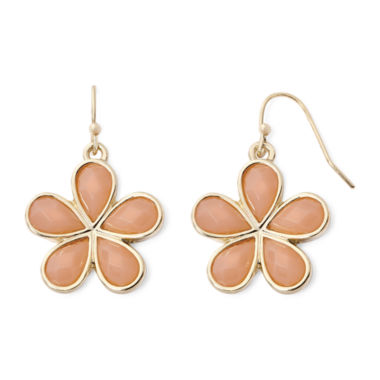jcpenney.com | Liz Claiborne® Peach Gold-Tone Drop Earrings