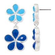 Liz Claiborne® Blue Stone Silver-Tone Double-Drop Earrings