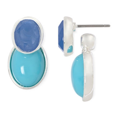 jcpenney.com | Liz Claiborne® Blue/Silver-Tone Double-Sided Earrings