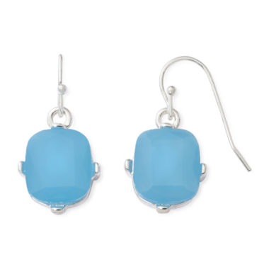 jcpenney.com | Liz Claiborne® Blue Stone Silver-Tone Drop Earrings