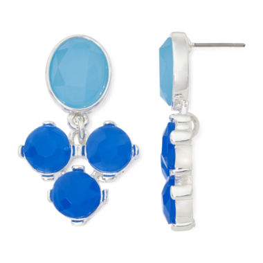 jcpenney.com | Liz Claiborne® Blue Stone Double-Drop Silver-Tone Earrings