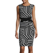 Bisou Bisou® Sleeveless Stripe Print Sheath Dress