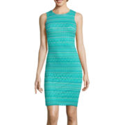 Bisou Bisou® Sleeveless Stripe Lace Bodycon Dress