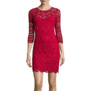 Reign On 3/4-Sleeve V-Back Lace Dress