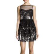 Crystal Sky Sleeveless Mesh Inset Sequin Fit-and-Flare Dress- Juniors
